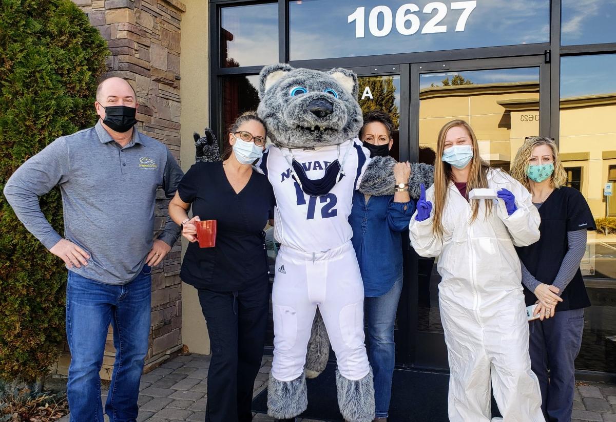 PFM staff with Nevada mascot